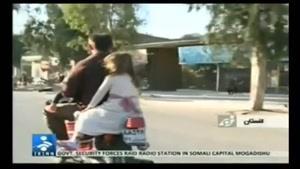 حرکت خطرناک مرد ایرانی بر روی موتور