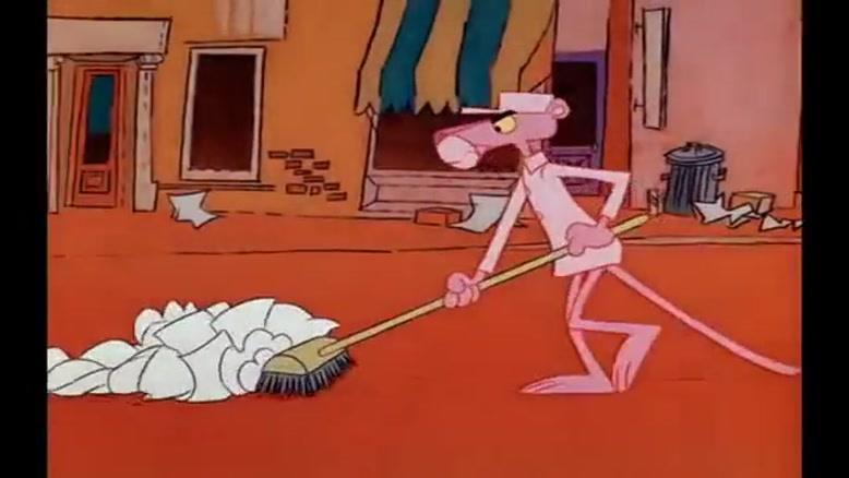 کارتون پلنگ صورتی - جمع کردن آشغال