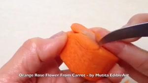 اموزش میوه ارایی تزیین هویج شکل گل رز