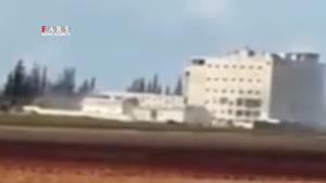 لحظه انفجار شدید در مقر بمبارانشده النصره