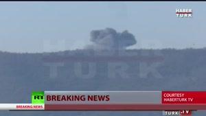 فیلم/ صحنه سقوط جنگنده سوری در مرز ترکیه