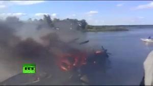 لحظه سوختن هواپیما بعد از سقوط