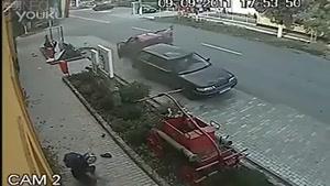 فیلم دوربین مدار بسته سانحه تصادف موتور سیکلت