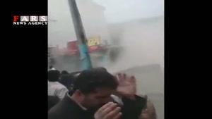 لحظه ریزش ۳ ساختمان بر اثر سیل در مازندران