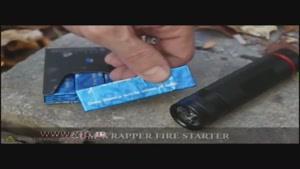 روشن کردن آتش بوسیله پوست آدامس و باتری!