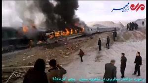 فیلم/ برخورد ۲ قطار مسافربری در استان سمنان حادثه آفرید