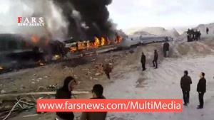 آتش گرفتن قطار مسافری در سمنان