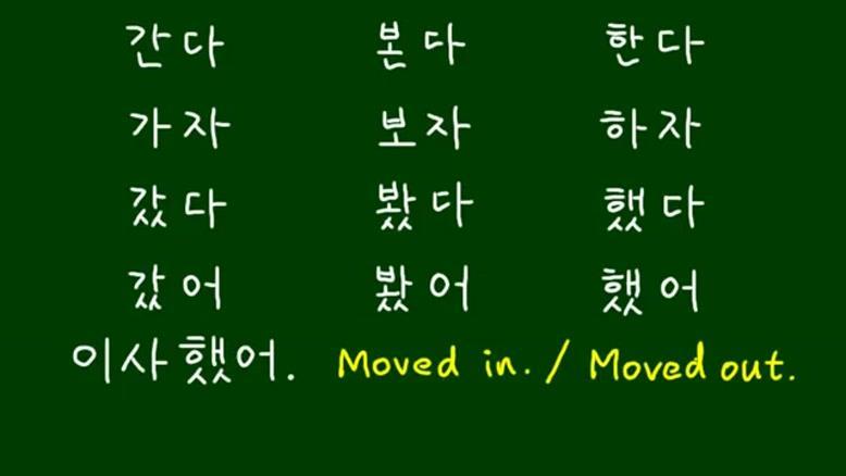 افعال زبان کره ای
