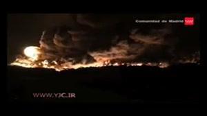 آتش سوزی مهيب در گورستان بزرگ لاستيک ها