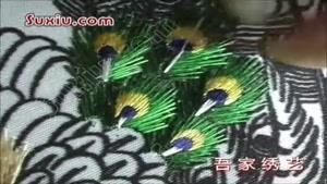 روش دوخت روی پارچه با طرح پر طاووس