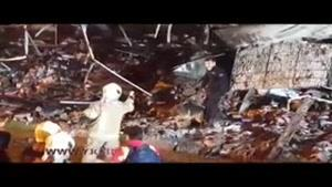 ورود سگهای زنده یاب به ساختمان ویران شده پلاسکو