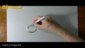 آموزش رسم سه بعدی خمیردندان بر روی کاغذ