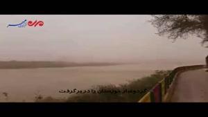 فیلم/ گرد و غبار خوزستان پرنده های کارون را آرام کرد