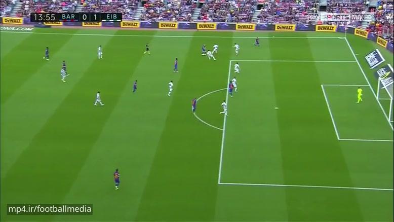 خلاصه بازی بارسلونا ۴ - ۲ ایبار (لالیگا)