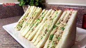یک ساندویچ ساده بهترین گزینه برای سرکار یا مدرسه بچه ها/ آموزش تهیه ساندویچ مرغ با سس مایونز