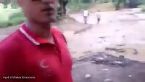 نجات جوان گنبدی که در سیل گیر کرده بود .