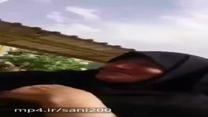 حاج خانم وحشت زده از سوار شدن ترن هوایی