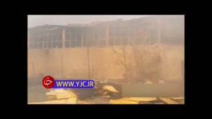 وضعیت انبار آتش گرفته در خیابان فداییان اسلام پس از اطفای حریق