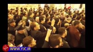 طواف پیکر شهید حججی در حرم امام رضا(ع)