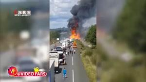 انفجار مخزن گاز کنار جاده
