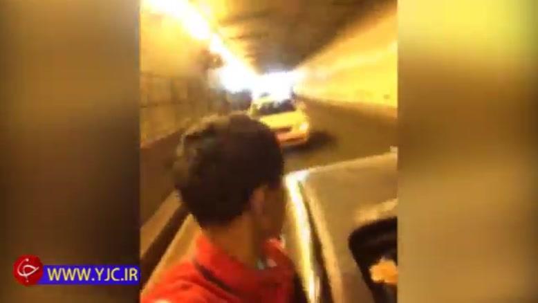 تصادف زنجیرهای خودروهای کاروان عروسی در تونل