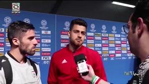 گفتگو با پورعلی گنجی محمدی و رضاییان بعد از بازی با عمان