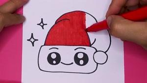 آموزش نقاشی فانتزی و بامزه یه کلاه کریسمس