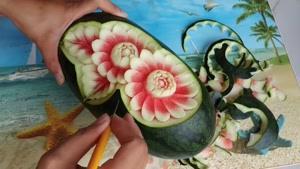 آموزش حکاکی ساده و زیبا روی هندوانه