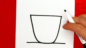 آموزش نقاشی فانتزی و بامزه یه فنجان چای داغ