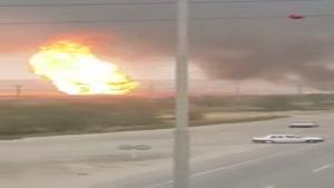 آتش سوزی در خط لوله اهواز