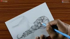 چگونه نقاشی زیبای دختری که موهایش را بافته است بکشیم