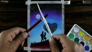 آموزش نقاشی عاشقانه با مداد شمعی