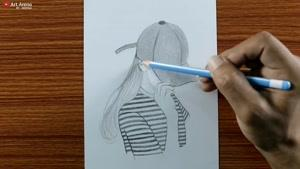 چگونه نقاشی دختری که کلاه بر سر دارد را بکشیم؟
