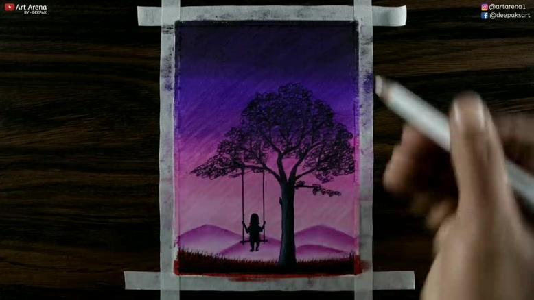 نقاشی دختری که تاب سوار شده