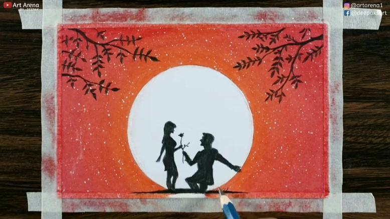 آموزش نقاشی غروب عاشقانه با پاستل