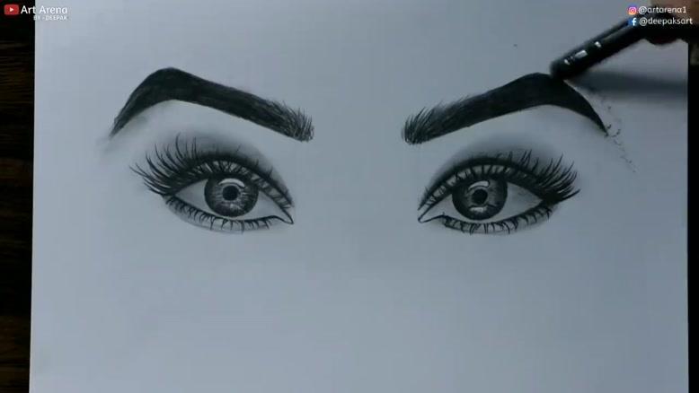 آموزش نقاشی چشم و ابرو با مداد سیاه