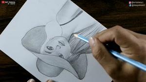 آموزش نقاشی دختری که کلاه بر سر دارد با مداد سیاه