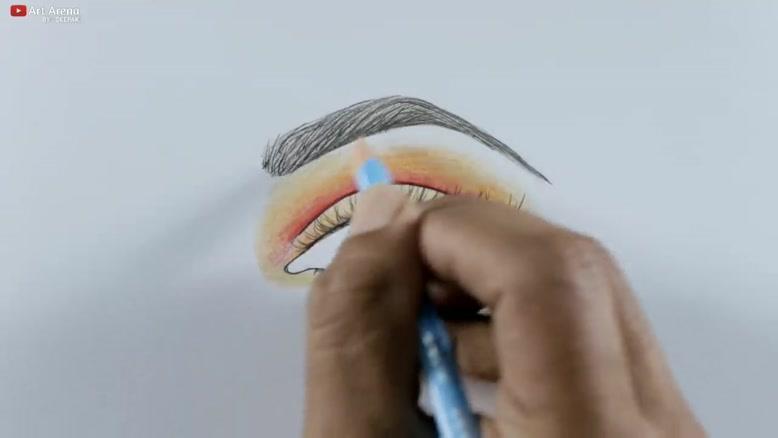 آموزش نقاشی چشم و ابرو با مداد رنگی
