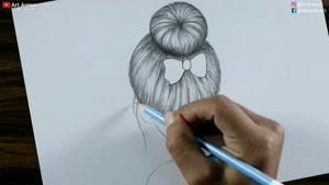 آموزش نقاشی دختری با موهای زیبا