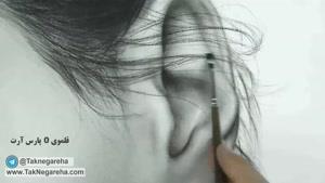 طراحی و نقاشی سیاه قلم موی فر با مداد کنته و ریش و سبیل