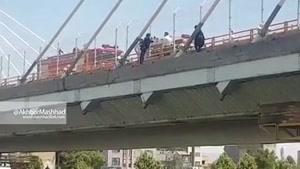 فیلم خودکشی نافرجام ۲ دختر از روی پل
