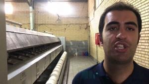 برداشت بوبین از دستگاه فینیشر در خط تولید نخ اکریلیک