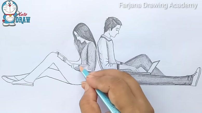 نقاشی ساده عاشقانه با مداد سیاه