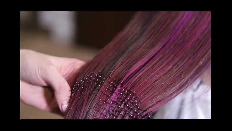 فیلم  آموزش رنگ کردن مو با فویل + رنگ مو بنفش