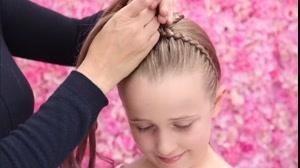 کلیپ  آموزش بافت مو دخترانه مدل تل