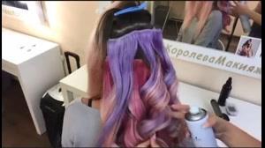 کلیپ  آموزش شینیون مو  + رنگ مو  فانتزی