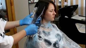 کلیپ آموزش آمبره کردن مو  + رنگ  مو شرابی