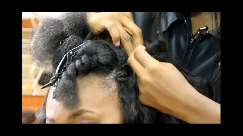 فیلم  آموزش نصب اکستنشن مو  با بافت مو