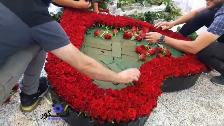 باکس  گل رز قلبی بزرگ