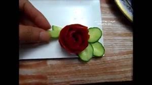 آموزش سبزی آرایی با گوجه و خیار